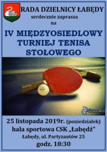 Turniej TENISA STOŁOWEGO - plakat 25.11.2019